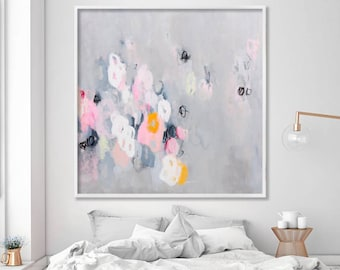 "Abstract Painting Print, Abstract Art Print, Grey and Pink Modern wall art, Large Canvas Art ""Sparkles 06"" by Duealberi"