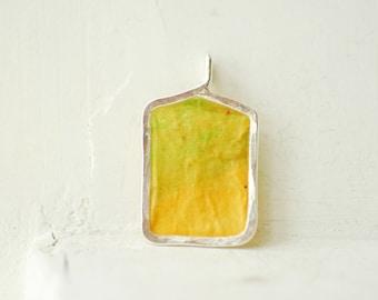 Lemon Necklace, Lime Pendant, Summer Fun Jewelry, Colorful Painting, Rectangle Pendant, Paper Jewelry, Color Block Design
