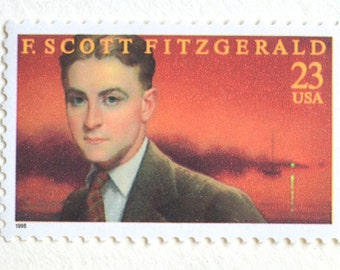 5 F. Scott Fitzgerald Postage Stamps // Unused Great Gatsby Author 23 Cent Stamps for Crafting or Mailing