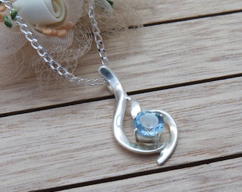 "Sterling Silver Topaz Crystal Pendant, 925 Blue Topaz Necklace with 18"" chain, Gift for November Birthday, Gift for Wife"