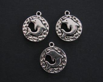 Dolphin Charms, Antique Silver, Zinc Based Alloy, 2cm X 1.7cm, Set of 3  (C154)