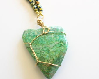 Green Triangle Stone Necklace