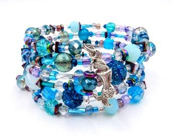 Mermaid bracelet, memory wire bracelet, boho bracelet, beaded bracelet, beaded wrap bracelet, multi wrap bracelet, mermaid jewelry