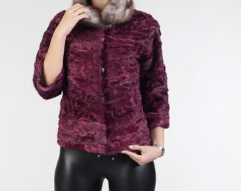 Luxury gift /Dark Phycsia Persian  lamb fur coat With Mink/ZEPHYRA