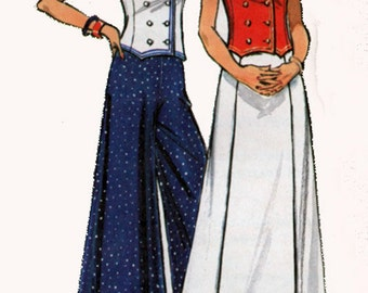 Vintage 1970s Halter Top w/ Sailor Collar, High Waist Palazzo Pants, Maxi Skirt Sewing Pattern Butterick 3087 Retro 70s Size 12 B34 UNCUT