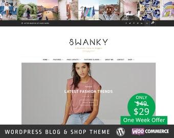 Swanky Wordpress Theme - Wordpress Feminine Theme - Responsive WordPress Blog Theme - Shop Template - WooCommerce - Fashion - Photography