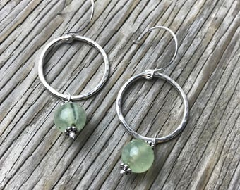 Essence earrings: Hammered fine silver hoops with prehnite beads handmade gift for her green earrings stone beads