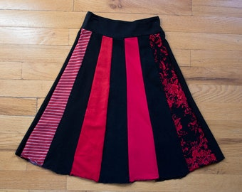 Girls Size Small Red Black Upcycled Skirt