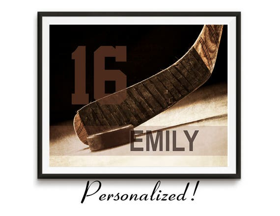 Personalized hockey art, Hockey gifts, Sports gift, Team Gifts, Teen birthday Girls Sports decor Kids room decor / Hockey