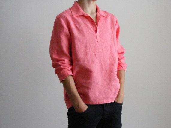 Mens Linen Shirt / Wedding Linen Shirt / Beach Shirt /Yoga Shirt / Pajamas Shirt / Lounge Shirt / Flax Shirt DA1xmtpG