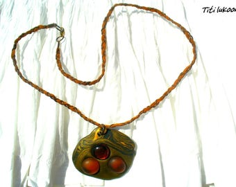 Polymer clay Fimo and nuggets Brown necklace