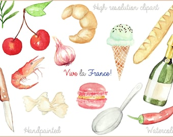 Watercolor France handpainted, kitchen clipart  in high resolution