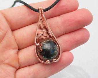 Orgone Pendant Wire Wrapped Pendant Black Tourmaline Pendant Shungite Quartz Copper