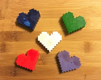 Minecraft Hearts Recycled Crayons | Upcycled, Recycled Crayons, Eco Friendly Crayons
