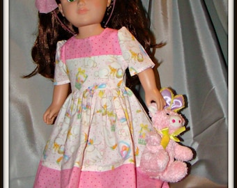 "Easter Dress, Spring Outfit & Easter Doll PET TOO; for American Girl Style 18"" Dolls! School and Dress Up Holiday Doll Clothes."