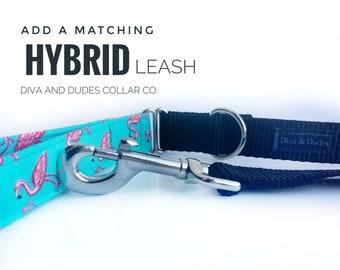 Hybrid Dog Leash, Fabric Handle, Add a Matching Leash Your Choice of Fabric