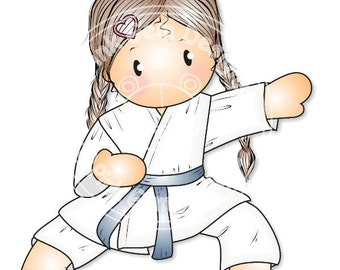 Digital (Digi) Karate Chloe Stamp - Girls Birthday etc