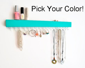 Jewelry Organizer Wall Mount -Jewelry Holder - Earring holder -  Necklace holder - Modern