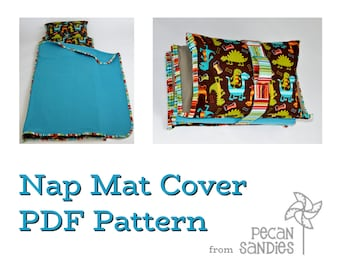 Nap Mat Cover PDF Pattern - Sewing Tutorial for Kindermat Cover with Blanket, Pillowcase, and Strap - Instant Download DIY Guide