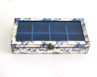 Wooden tea box with, floral tea organiser box ,  grandma  box,  gift for mom , tea box with glass lid ,  jewelry storage , jewelry display
