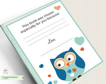 Printable Bookplates -Baby Shower Bookplate-Book Plates-INSTANT DOWNLOAD-Bookplates-owl Bookplates- Childrens Bookplate,Book-themed