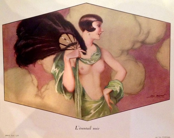 Featured listing image: The BLACK FAN by FONTAN Uncirculated 1928 Litho French Art Deco Flapper Fan Dancer Pinup Open Gown Nude Costume Party 20s Vintage Pin-Up
