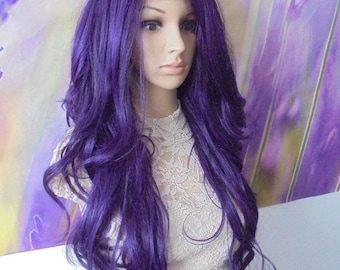 Purple front lace Wig synthetic heat resistant 28''