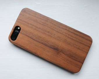 iPhone 8, iPhone 7 Plus 100% SOLID WALNUT Slimline Design WOODEN Case, Eco-friendly Design. Free Global Shipping & Gift Box