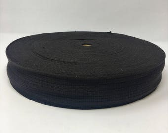 "2"" Wide Cotton Webbing One Yard Piece Black"