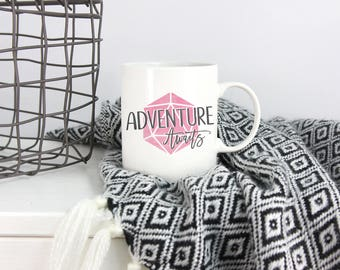 Dungeons and Dragons | Adventure Awaits | Mug - Pink, DnD, RPG, Gamer, D&D