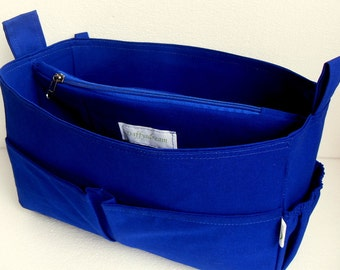 Large Purse organizer insert- Bag organizer in Royal Blue fabric