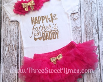 Happy 1st Father's Day Baby Girl Outfit | First Daddy's Girl Clothes Bodysuit | Hot Pink Gold Glitter | Daddy's Princess | Tutu Headband