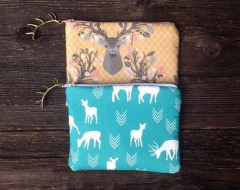 Zipper Pouch, Clutch Purse, Evening Bag, Gifts for Teen Girls, Gifts Under 25, Women's Handbag, Makeup Bag, Boho Bag, Floral Deer Purse