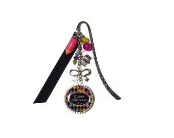 "Center ""Super teacher"" bookmark, teacher gift, personalized bookmark"