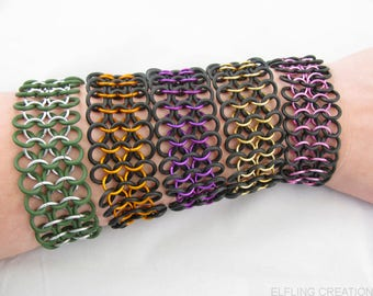 Stretchy Chainmaille Bracelet, Chainmail Jewelry for Men or Women - Pick a Color for One Bracelet