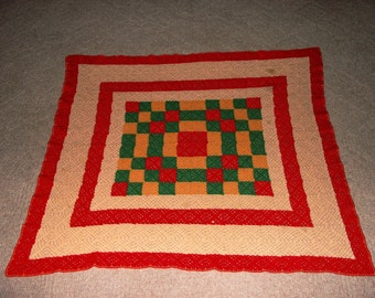 Vintage hand Crocheted Checkerboard Baby Blanket, Lap Blanket,Throw, Afghan Table Cloth