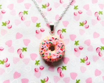 Pink Sprinkle Donut/Doughnut Necklace, Kawaii Necklace, Food Necklace, Food Jewelry, Polymer Clay, Cute Necklace, Sweet Lolita