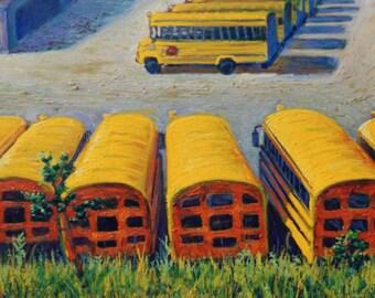School Bus Yard - original painting