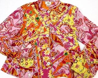 Vibrant Vintage 90's Boho Colorful Jacket - Sandy Starkman - Small