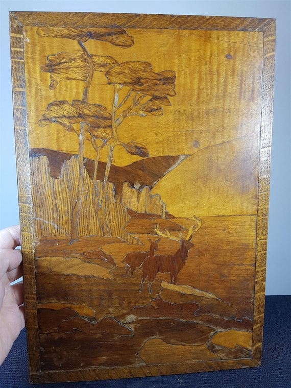 Vintage Inlaid Marquetry Wood Landscape Deer Scene Wall Art
