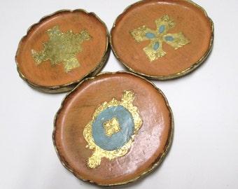 Florentine Trays Vintge Firenza Florence Italy Coasters Set Gold Gilt Peach Aqua Turquoise for Bohemian Home Decor Florenza