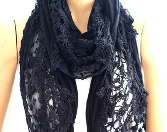Black lace flowers cotton shawl, black shawl, flower shawl, new scarves, new shawl, fashion shawl, accessories, lace scarf, lace shawl, gift