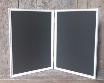 Hinged Magnetic Chalkboard Jewelry Display - Magnetic Jewelry Frame Stand - Magnetic Chalkboard Distressed White Jewelry Organizer
