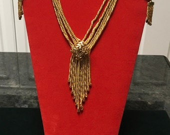Vintage Lariat Necklace with Earrings: Demi Parure