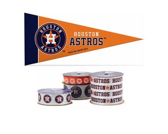 Houston Astros MLB Ribbon, 4-pack of Ribbon & Mini Pennant, Licensed MLB Offray Ribbon
