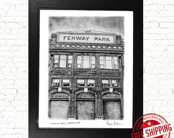 Boston red sox gift Red Sox Poster art print - Fenway park - Boston art Baseball Fan Gift
