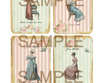 Instant Digital Download - Jane Austen - Quality  Printables - Scrapbook - Crafts - Tags