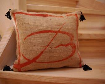 Decorative burlap coffee bag pillow