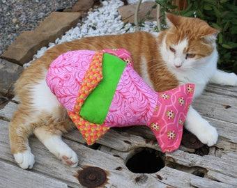 Washable Cat Toy, Cat Toy, Handmade Catnip Toys, Pink Cat NipToy, Cat Accessories, Fish Catnip Toy, Colorado Catnip Toys, Kicker Cat Toy,