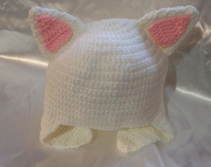 """Peruvian """"cat ears"""" hat, crocheted in white and pink"""